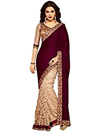 Vinayak Textiles Women's Velvet and Brasso Net Saree with Blouse Piece (Maroon, Free Size)