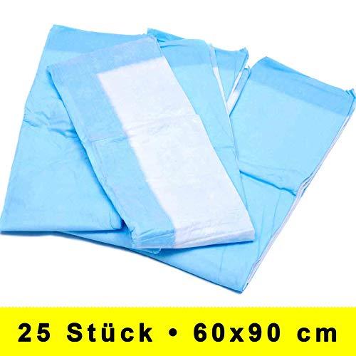 25 Stück 60x90 cm Premium Hygieneunterlage mit Flockenfüllung als Patientenunterlage Inkontinenzunterlage Wickelunterlage Tierunterlage zu verwenden