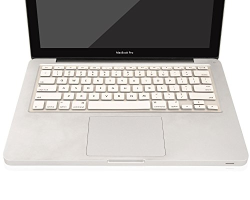 """Heartly Premium Soft Silicone Keyboard Skin Crystal Guard Protector Cover For MacBook 13"""" / 13.3"""" / 15"""" / 17"""" inch Back White"""