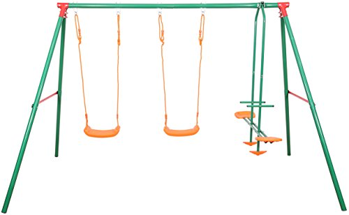 Sportplus Kinderschaukel mit 2 Schaukeln & 1 Tellerwippe, wetterbeständige Gartenschaukel für Kinder inkl. Montageset & Bodenanker, Schaukel ab 3 Jahre bis 105kg, TÜV GS-geprüft nach Spielzeugnorm
