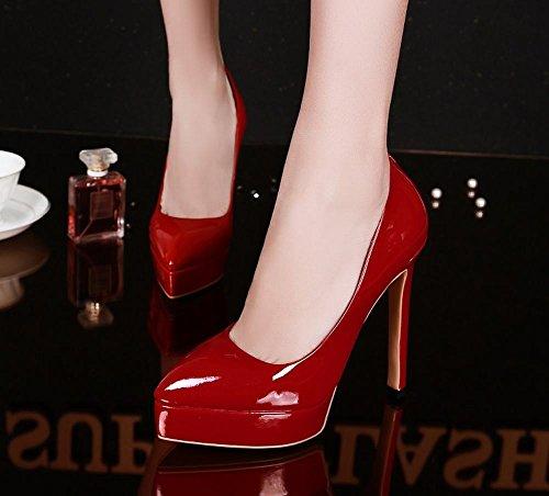 Mee Shoes Damen high heels Plateau Lack Pumps Rot