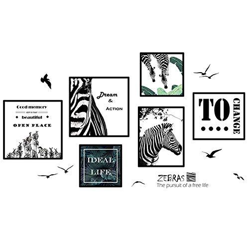 Wshat Zebra-Wandaufkleber-Aufkleber-Schlafzimmer-Schlafsaal-Foto-Rahmen-selbstklebende Korridor-Verzierungs-Tapete