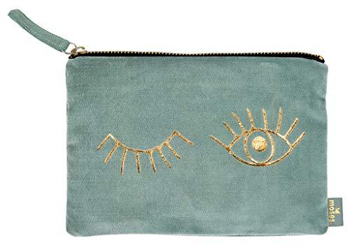 moses. Täschchen Eyes libri_x   Kosmetiktasche aus Samt   für Schminkutensilien, Stifte und Krims-Krams Kosmetiktäschchen, 22 cm, Salbei