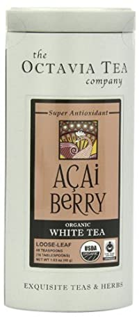 Octavia Tea Acai Berry (Organic White Tea) Loose Tea, 1.63-Ounce Tin