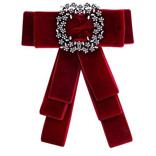 Wantschun Damen Schleifenbrosche Streifen Strass Perle Schmuckbrosche Bowknot Kleid Schleifen Blusen Brosche Design K: Rot