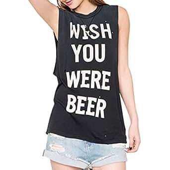 """Samgoo Women's Sommer Freizeit """"Wish you were beer"""" gedruckt Tank Tops Bluse Weste Oberteile (S)"""