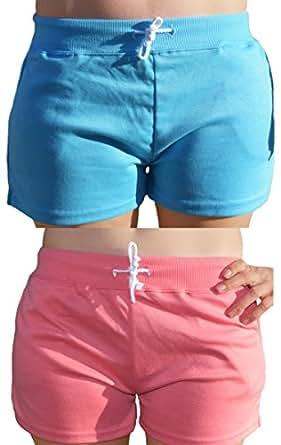 Ladies 2 Pack Summer Drawstring Cotton Shorts in Coral Blue UK 12 14 EU 40/42 CBLU