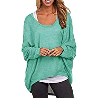 Reooly Round Neck Bat Sleeve Ladies, Fall Solid Color Long Sleeve Casual Top Shirt