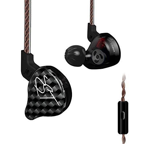 ZUEN In-Ear-Subwoofer-Kopfhörer mit Ring-Eisen-Hintergrund Hochleistungs-Moving-Iron-Einheit/Mid-Bass-Moving-Coil-Einheit 6N OFC Professional-Kopfhörer Custom Line,withmicrophoneversion