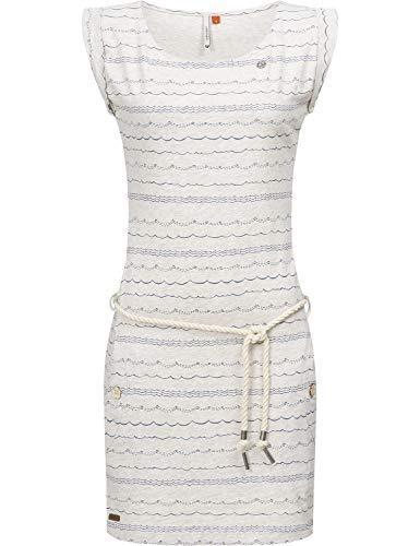 Ragwear Damen Kleid Dress Sommerkleid Strandkleid Jerseykleid Freizeitkleid Tag Waves Beige Melange019 Gr. M - Print Taille Binden