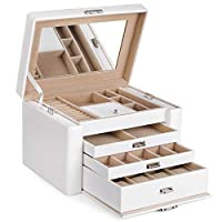 SONGMICS Jewellery Box Jewelery Earrings Drawer Jewellery Organiser for girls 3 Drawers
