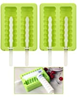 OUNONA Popsicle Molds Ice Pop Molds Silicone Ice Molds BPA Free with Lid Set of 2 (Green)