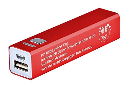 'Power Bank 2200mAh incluye grabado 'Ich liebe cada día, en el que tus Hermana debe ser... disponible en 3colores diferentes-Regalo-Batería externa con USB cable de carga de metal, Rojo