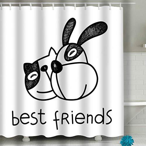 hyjhytj Beach Shower Curtain cat Dog Friends Best Friend Concept Smiling Each Other Prints Fabric Bathroom Decor 60 X 72 Inch