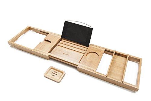 Monsuri Ausziehbare Holz Badewannenablage Badezubhör: Luxus Badedewannentablett mit Buchstütze und...