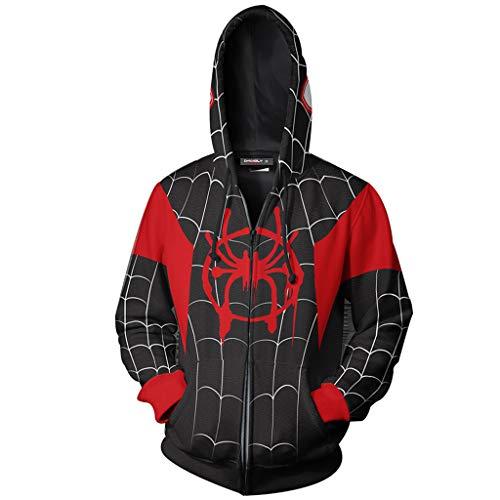 YKJL Männer Hoodie 3D Gedruckt Anime Hoodie Beiläufige Große Größe Langarm Sport Sweatshirt Spider-Man Cosplay Kostüm für Jugend Paare Geschenk,Schwarz,XXXL