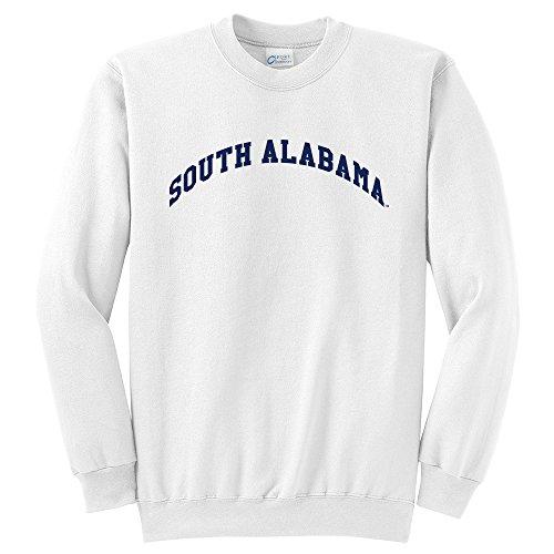 Alabama Sweatshirt (Campus Merchandise NCAA South Alabama Jaguars Arch Classic Rundhals-Sweatshirt, Größe XL, Weiß)