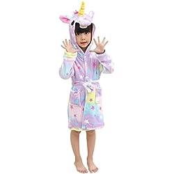 LANTOP Peignoir Doux Enfant Confortable Licorne Robe en Flanelle Unisexe Encapuchonné Cadeau Vêtements De Nuit Quatre Saisons