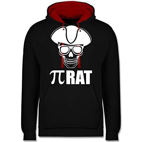 Shirtracer Nerds & Geeks - (Pi) Rat - weiß - XL - Schwarz/Rot - JH003 - Kontrast Hoodie