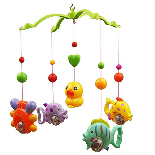 OULII BABY CRIB MOBILE MUSIC BED BELL MUSIC BED BELL SET FUNNY FISH CRAB AND DUCK EDUCATIONAL TOY (RANDOM COLOR)