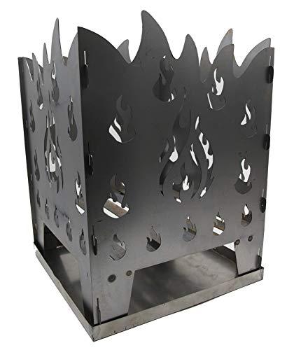 WIDA Feuerkorb Motiv Flamme Metall mit Ascheschale
