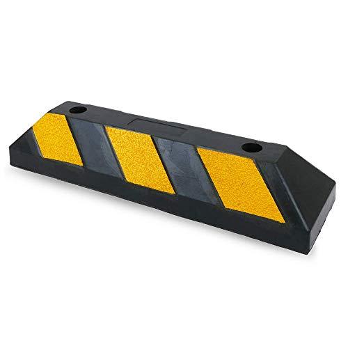 Cablematic - Tope de ruedas para aparcamiento 550x150x100 mm de goma con reflectores
