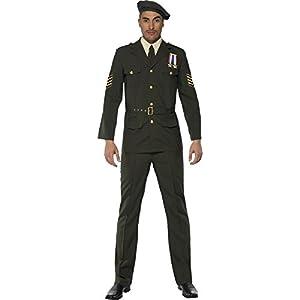 """Smiffys-35334L Miffy Oficial de Guerra, Gorra, Corbata, Pantalones, cinturón y Chaqueta, Color Verde, L-Tamaño 42""""-44"""" (35334L)"""