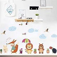 Bear Owl Fox Bird Lion Umbrella Plant Wall Stickers for Kids Rooms Home Decor Cartoon Animals Wall Decal Art PVC Mural Art