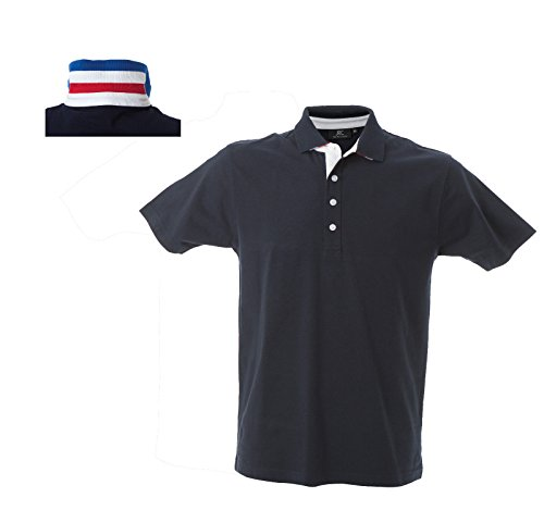 Polo Manica Corta in Jersey Retro del Colletto con Bandiera James Ross Riccione Navy