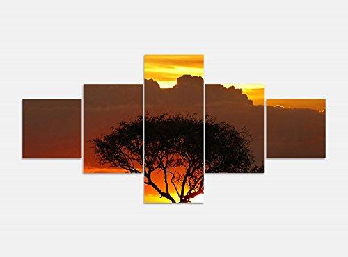 Foto en Lienzo 5 piezas 200cmx100cm África Sabana Elefantes Safari Árbol Imágenes...