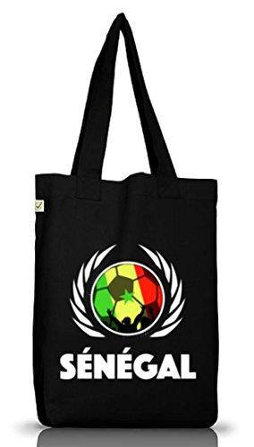 Wappen Fussball WM Fanfest Gruppen Jutebeutel Stoffbeutel Earth Positive Fußball Senegal Black
