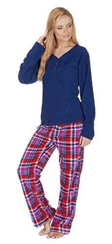 Damen Fleece Pyjama Set mit schlichten Top und Kariert Böden Marineblau Rot