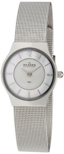 Skagen - Montre Femme - 233XSSS - Bracelet Acier Inoxydable Argenté - Cadran Blanc