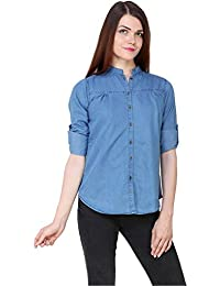 20509f9088f2 C.Cozami Women s Solid Casual Long Sleeves Denim Light Blue Dark Blue Shirt