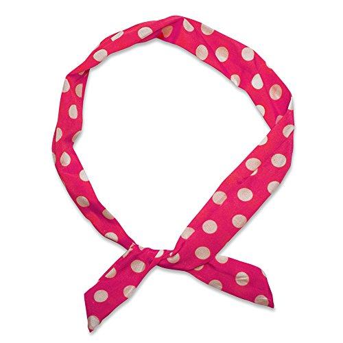 SoulCats® 1 Haarband viele Styles!-Polkadots Rockabilly Schleife Punkte Streifen rot Weiss Marine pink, Modell:Magenta/weiß gr. Pkt