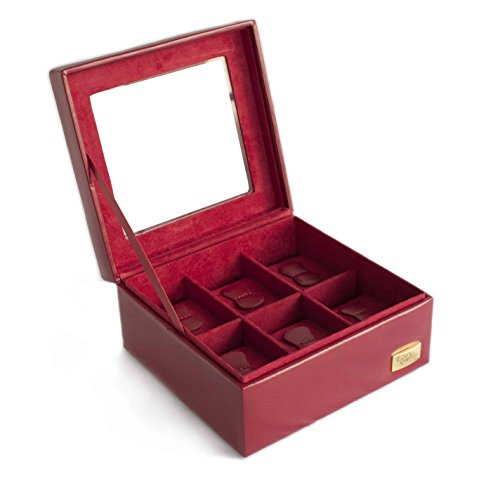 Cordays - Estuche Relojero para 6 Relojes con Vitrina de Cristal Hecho a Mano en Color Rojo. CDL-10003