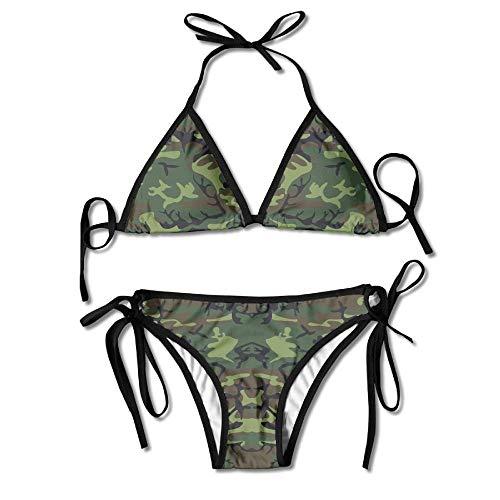 Fashion Greens, Brown, and Black Military Camouflage Women Swimwear Bandage Bikini Set Push-up Padded Bra Swimsuit - Brown Womens Bikini