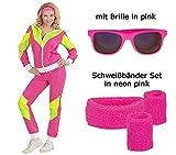 Damen Kostüm 80er Jahre Trainingsanzug Gr. S bis XL mit Brille + Schweißbänder (M)