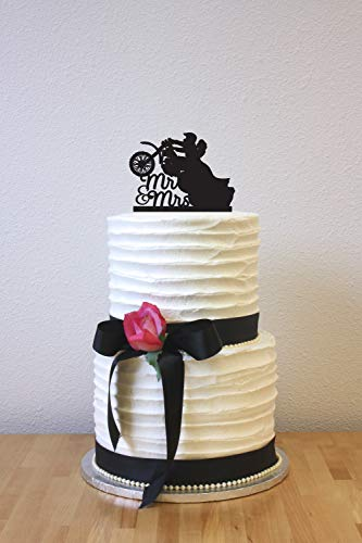 Monsety Dirt Bike Braut Bräutigam Hochzeitstortenaufsatz Mr Mrs Bride and Groom Silhouette Hochzeitsdekoration Geschenke - Gold Dirt Bike