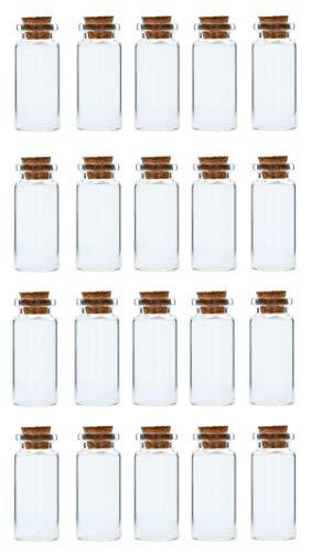 hen mit Korkdeckel - (10 ml - Ø 22x50 mm - 20 Stück) - Reagenzglas mit Korken - Kleine Mini Glasfläschchen ()