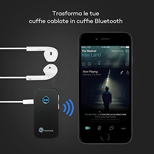TaoTronics Ricevitore Bluetooth A2DP, Adattatore Wireless per Streaming Audio/Kit Bluetooth 4.0 per Auto con Uscita Stereo 3.5 mm e Microfono Incorporato – Argento