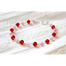 Red Pink Colored Jade Glass Beaded Bracelet 4 mm and 6 mm.