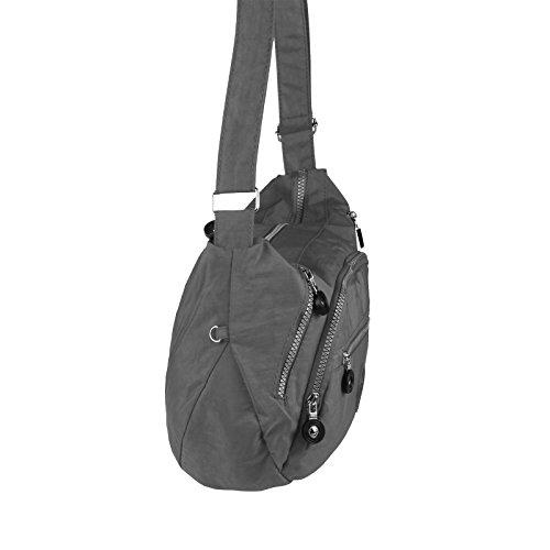 OBC Ital-design Unisex Erw. & Kinder Tasche Schultertasche Freizeit Shopper Umhängetasche (Schwarz) Grau 39x23x9 cm