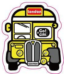 sticker autocollant mac valise voiture portable- school bus jaune londres Britich NEUF