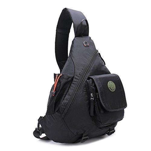 �er Sling Rucksack Brust Schulter Crossbody Daypacks für Männer und Frauen, Unisex-Erwachsene, Black Large ()