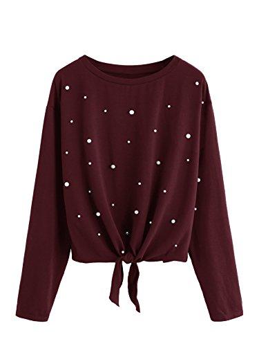 DIDK Damen Pulli Langarmshirts Rundhals T-Shirt Oberteile Pullover mit Perlen und Knoten Dunkelrot L