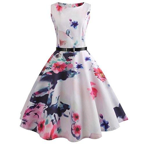 MRULIC Damen Abendkleider Party Prom Swing Kleid Shiny Rose Blumendruck Party Kleid Strandkleid Weihnachtskleid Weihnachten Karneval Halloween(B-Weiß,EU-38/CN-M)