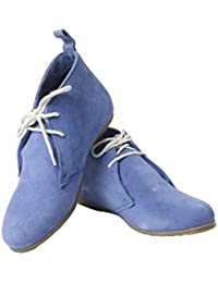 Elegans Genuine Leather Women's Casual Ankle Boots - Blue