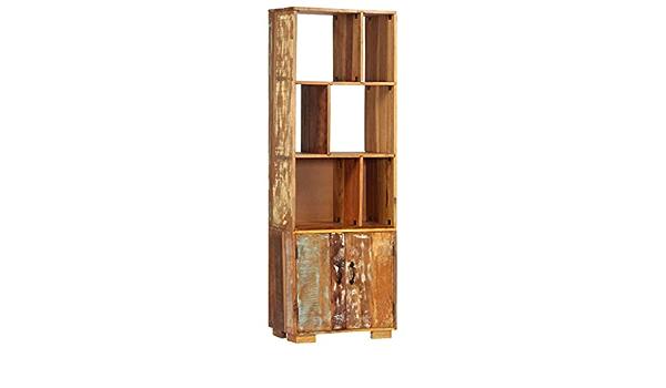 Tidyard Libreria 80x30x180 cm in Legno di Mango Grezzo,con Ampio Spazio per Conservare Gli Oggetti