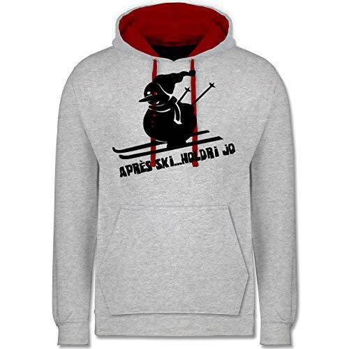 Shirtracer Après Ski - Ski Schneemann - S - Grau meliert/Rot - JH003 - Hoodie zweifarbig und Kapuzenpullover für Herren und Damen